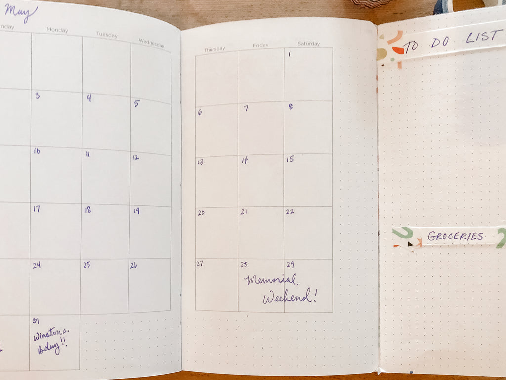 Monthly planner page with additional space for notes and reminders