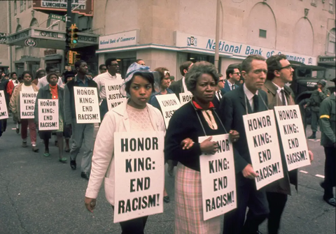 Protestors after the death of Martin Luther King