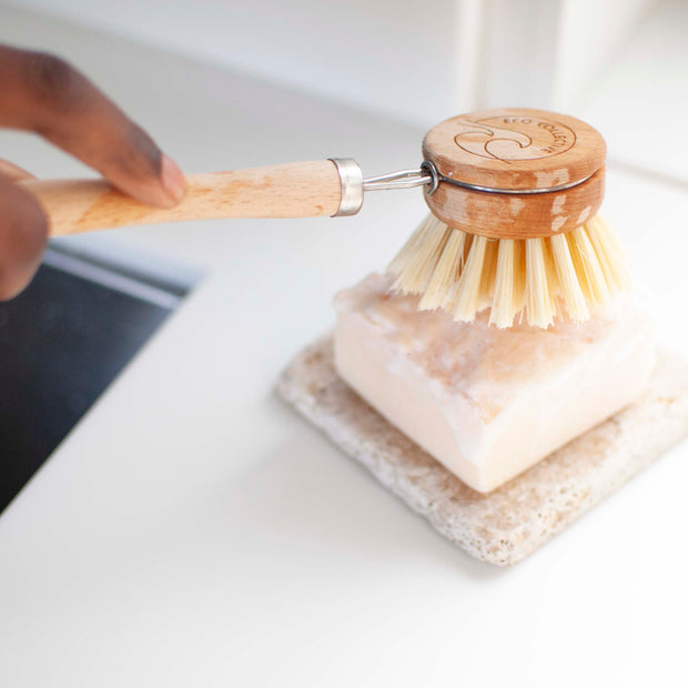 Wooden dish brush with replaceable head