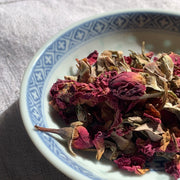Red rose buds and petals, dried, organic