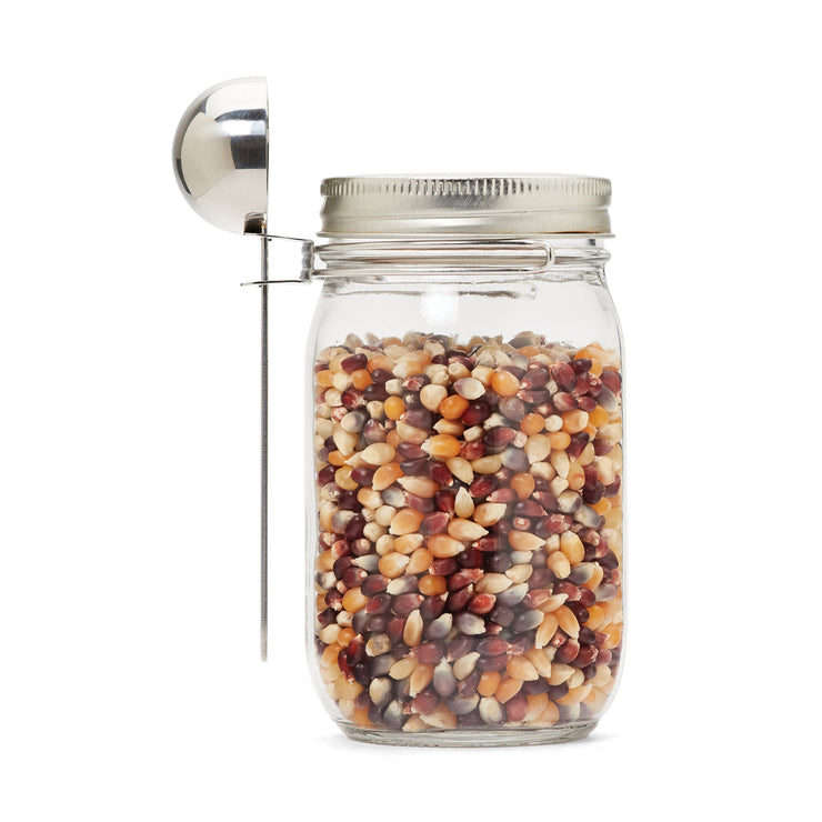 Mason jar scoop attachment