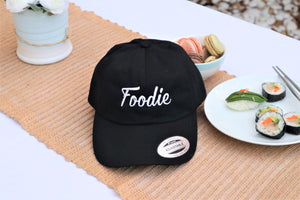 "Cap Unstructured Twill ""Foodie"" Black (Dad Hat)"