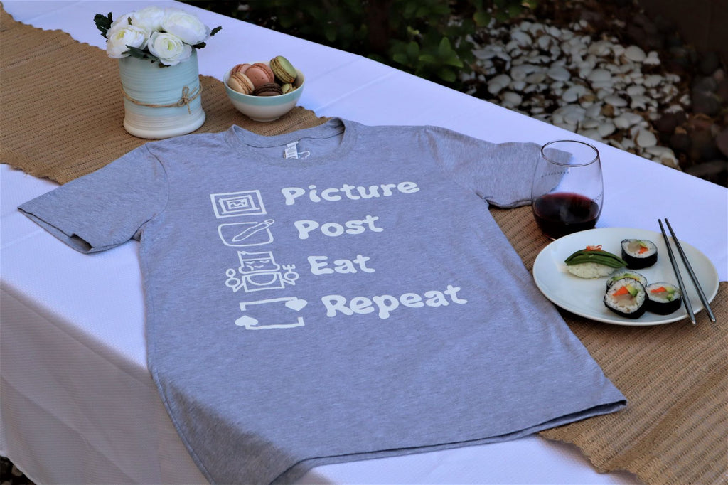 Picture Post Eat Repeat -Athletic Heather Tee