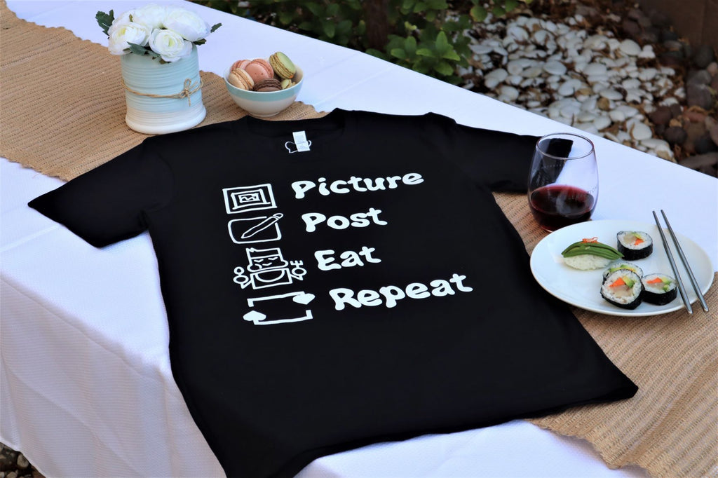 Picture Post Eat Repeat -Black Tee