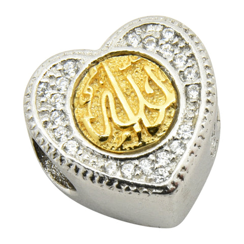 Sterling Silver Allah Heart Gold Plated Bracelet Charm