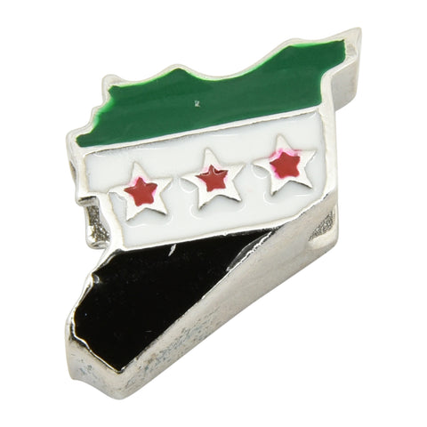 Sterling Silver Free Syria Flag Map Bracelet Charm