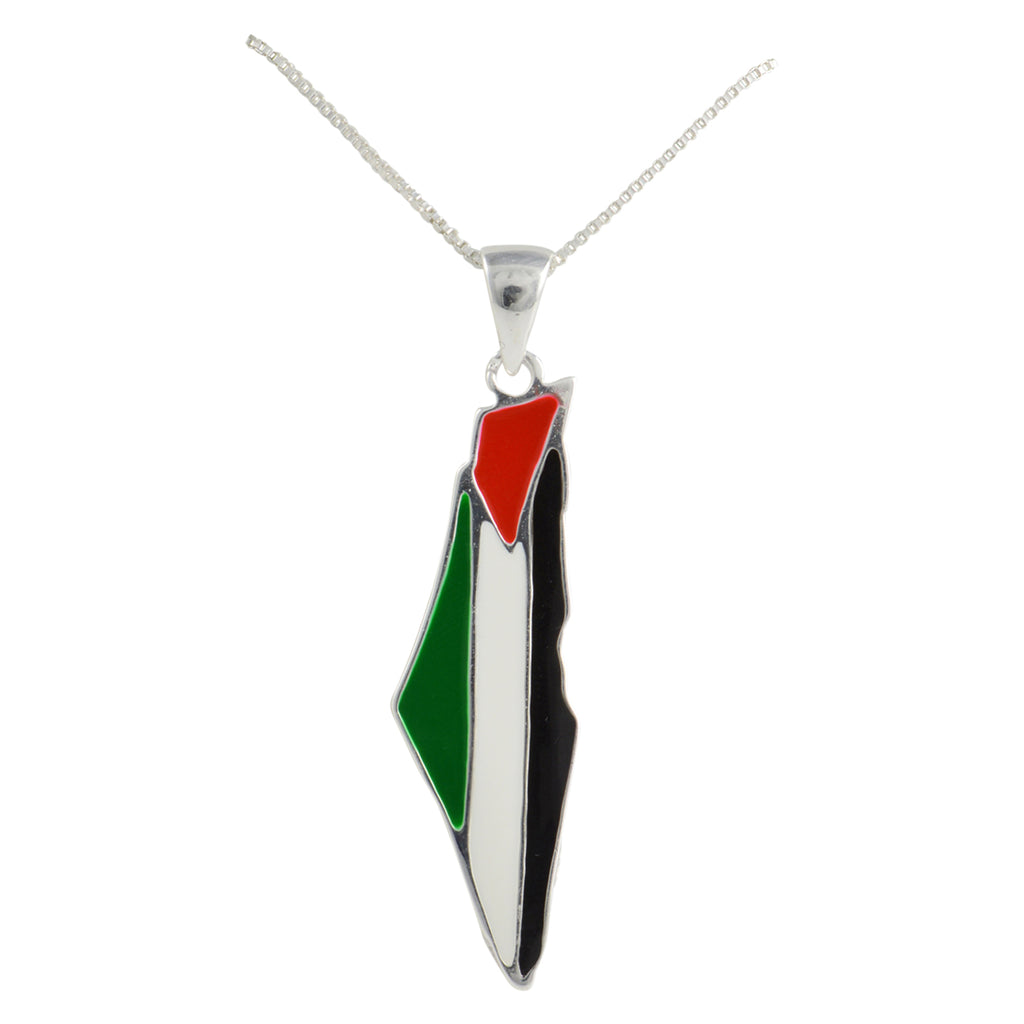 Silver Large Palestine Flag Map Necklace