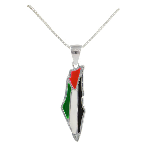 palestine map necklace silver