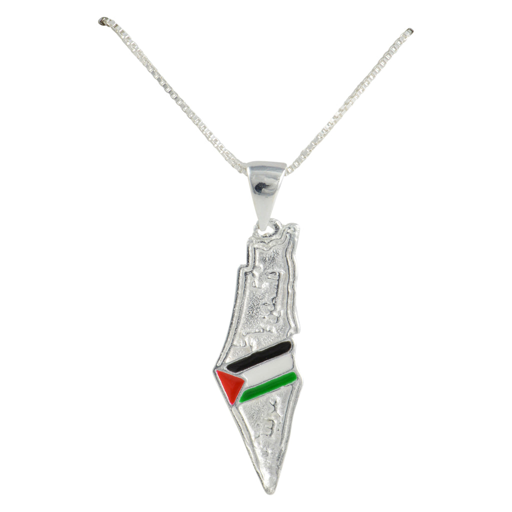Silver Small Palestine Flag Map Necklace