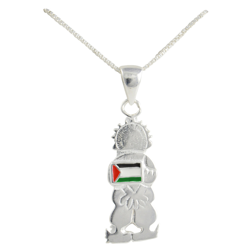 Silver Handala Palestine Flag Necklace