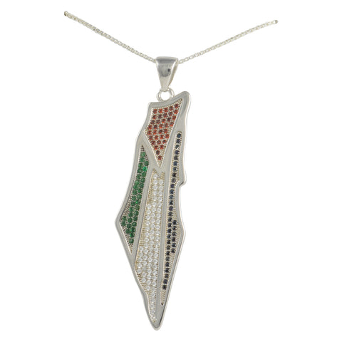 Silver CZ Large Palestine Flag Map Necklace