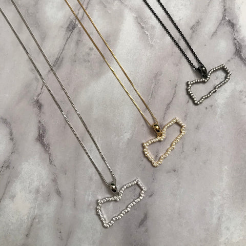 Sterling Silver Yemen Map CZ Outline Necklace - Available in 3 Colors