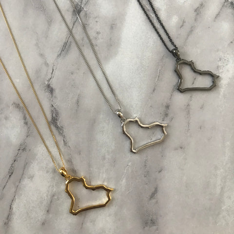 Sterling Silver Iraq Map Outline Necklace - Available in 3 Colors