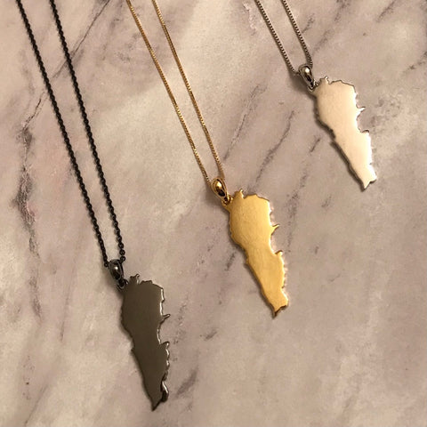 Sterling Silver Lebanon Map Necklace - Available in 3 Colors