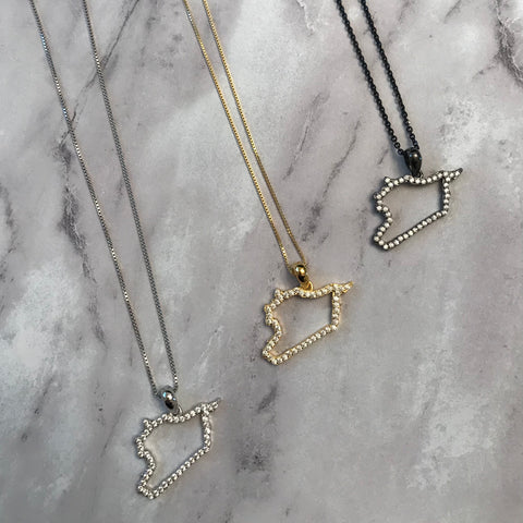 Sterling Silver Syria Map CZ Outline Necklace - Available in 3 Colors