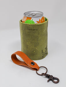 Orange Key Fob Yellow Fire Hose Can Cooler
