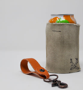 Orange Key Fob White Fire Hose Can Cooler
