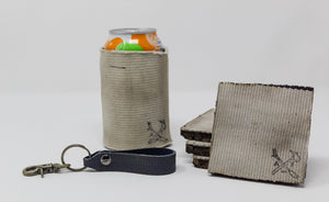 Fire Hose Gifts: Blue Key Fob, White Can Cooler, White Coasters
