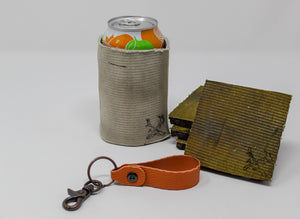 Fire Hose Gifts: Orange Key Fob, White Can Cooler, Yellow Coasters