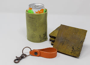 Fire Hose Gifts: Orange Key Fob, Yellow Can Cooler, Yellow Coasters