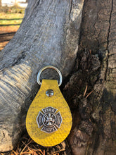 Firefighter Fire Hose Key Ring: Yellow