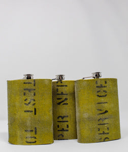Three Yellow Fire Hose Flasks