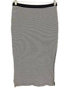 Gap Black White Striped All Cotton Maxi Straight Slit Skirt Women's Size Small S - Preowned - FunkyCrap Boutique