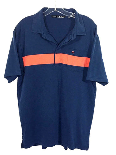 Travis Mathew Blue Orange Striped Front Pocket 4 Buttons Golf Polo Shirt Mens L - Preowned - FunkyCrap Boutique
