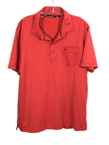 Travis Mathew Rust Red Front Pocket 4 Button Golf Tennis Polo Shirt Mens Large L - Preowned - FunkyCrap Boutique