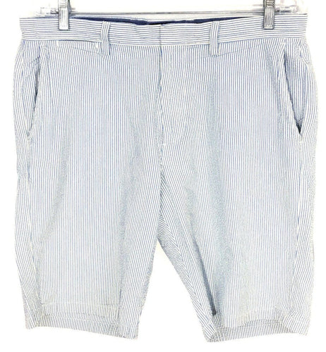 J. Crew Club Shorts Blue White Seersucker Preppy Striped Mens 33 Actual 34 x 20 - Preowned - FunkyCrap Boutique