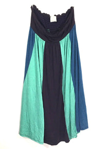 Ella Moss Dress Strapless Colorblock Blue Green Brown Maxi Boho Womens Small S - Preowned - FunkyCrap Boutique