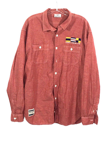 Disney Cruise Line 98 Sewn Logo Flags Button Down Linen Blend Shirt Mens Large L-Preowned - FunkyCrap Boutique