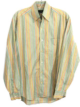 Ermenegildo Zegna Italy Striped Colors Blue Pink Green Tan Button Shirt Mens S - Preowned - FunkyCrap Boutique