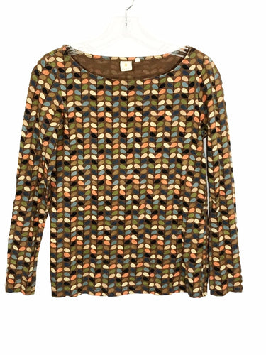 Orla Kiely Multi Color Leaf Stem Pastel Long Sleeve Brown Shirt Womens Medium M - FunkyCrap Boutique