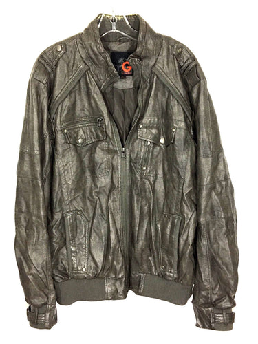 G by Guess Faux Leather Full Zipper 4 Pocket Bomber Jacket Men's Size Large L - Preowned - FunkyCrap Boutique