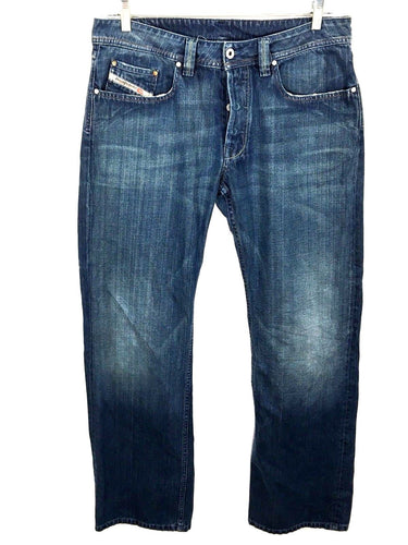 Diesel Jeans Levan Button Fly Dark Distressed Straight Leg Mens 33 Actual 32 x 34-Preowned - FunkyCrap Boutique