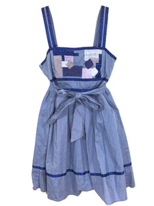 Silence + Noise Urban Outfitters Dress Blue Patchwork Smocked Womens Medium M - FunkyCrap Boutique