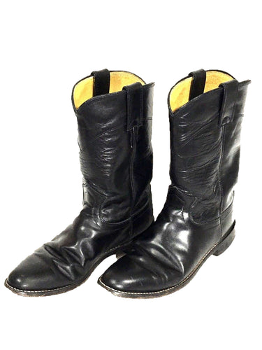 Justin Cowboy Boots Riding Cowgirl Western L3703 Black Leather Womens 7 B - Preowned - FunkyCrap Boutique
