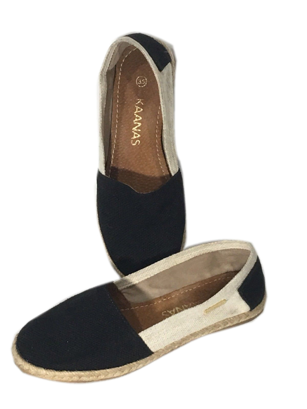 Kaanas Espadrilles Shoes Slip On Loafers Black Tan Flats Womens US Size 5 EU 35 - Preowned - FunkyCrap Boutique