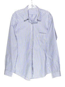 Steven Alan Blue White Striped Button Front Cotton Dress Shirt Mens Large L - Preowned - FunkyCrap Boutique
