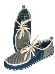 Shoens Fashion Oxford Sneakers Shoes Blue White Zig Zag Design Mens 41 Eur 7 US - FunkyCrap Boutique