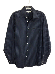 Faconnable Black Gray Striped Button Down Dress Shirt Pocket Mens Medium M - Preowned - FunkyCrap Boutique