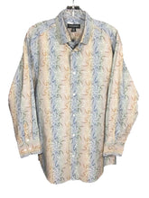 Jhane Barnes Silk Cotton Blend Shadow Striped Flower Design Dress Shirt Mens M - Preowned - FunkyCrap Boutique