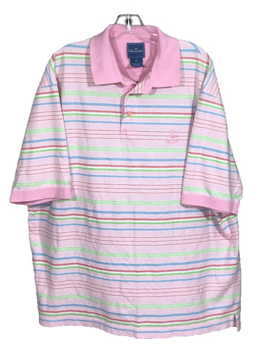 Faconnable Pink Striped Sewn Logo All Cotton Knit Polo Casual Shirt Mens XL - Preowned - FunkyCrap Boutique