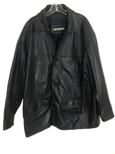 Hudson Black Leather Jacket Real Leather Button Down Polyester Lining Mens XL - Preowned - FunkyCrap Boutique