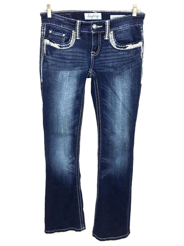 Daytrip Aquarius Flare Jeans Thick Stitch Bling Studs Stretch Womens 27R 27 R - Preowned - FunkyCrap Boutique