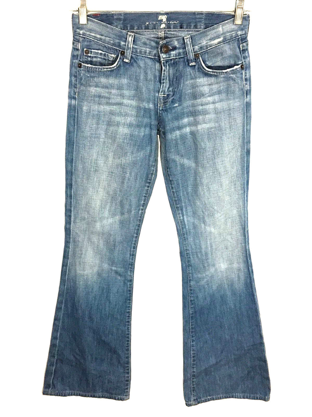 7 For All Mankind Light Wash Flare Leg Women's Jeans Size 26 Actual 27x31 - Preowned - FunkyCrap Boutique