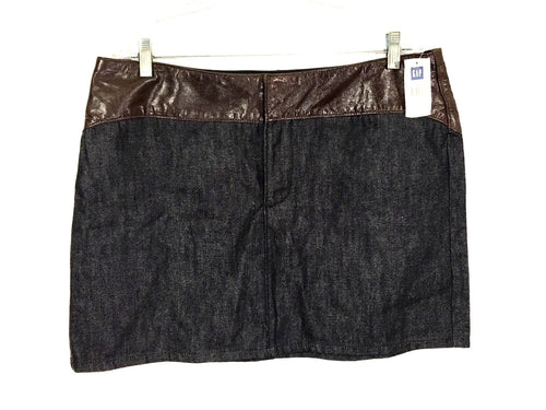 Gap Jeans Skirt Genuine Brown Leather Waist Jean Denim Dark Wash Womens 16 NWT - FunkyCrap Boutique