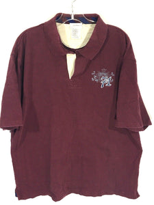 Walt Disney World Embroidered 71 Mickey Crest Logo Polo Maroon Red Shirt Mens XL - Preowned - FunkyCrap Boutique