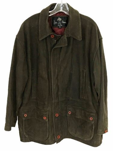 Luis Alvear Heavy Leather Jacket Brown Zipper Front Button Pockets Mens Large L - Preowned - FunkyCrap Boutique